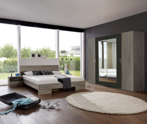Ložnicový komplet Alina - Komplet 5, postel 140 cm (dub montana, lava černá)
