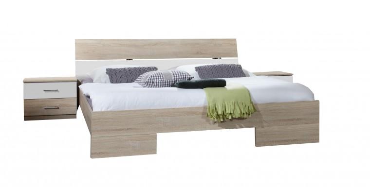 Ložnicový komplet Alina - Komplet 6, postel 140 cm (dub, alpská bílá)