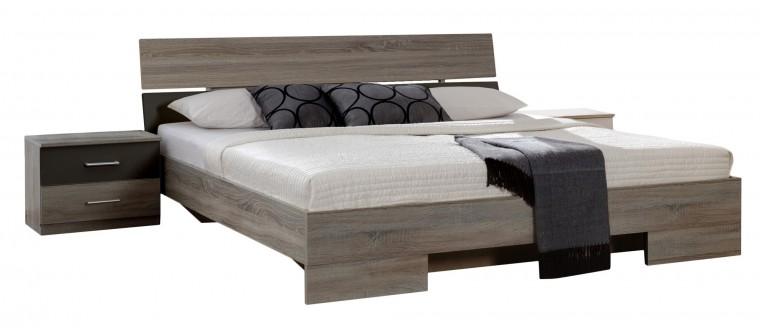Ložnicový komplet Alina - Komplet 6, postel 140 cm (dub montana, lava černá)