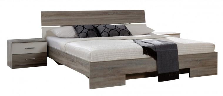 Ložnicový komplet Alina - Komplet 7, postel 160 cm (dub montana, alpská bílá)