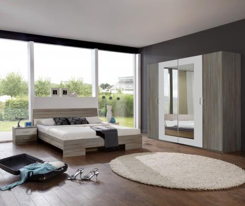 Ložnicový komplet Alina - Komplet 9, postel 180 cm (dub montana, alpská bílá)