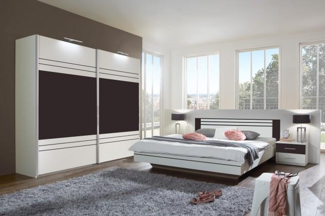 Ložnicový komplet Cascada - komplet, postel 180cm (alpská bílá, lava)