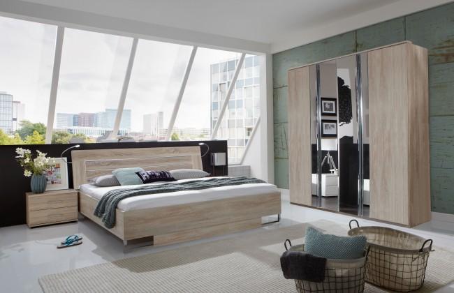 Ložnicový komplet Davos - Komplet 2, postel 180 cm (dub)