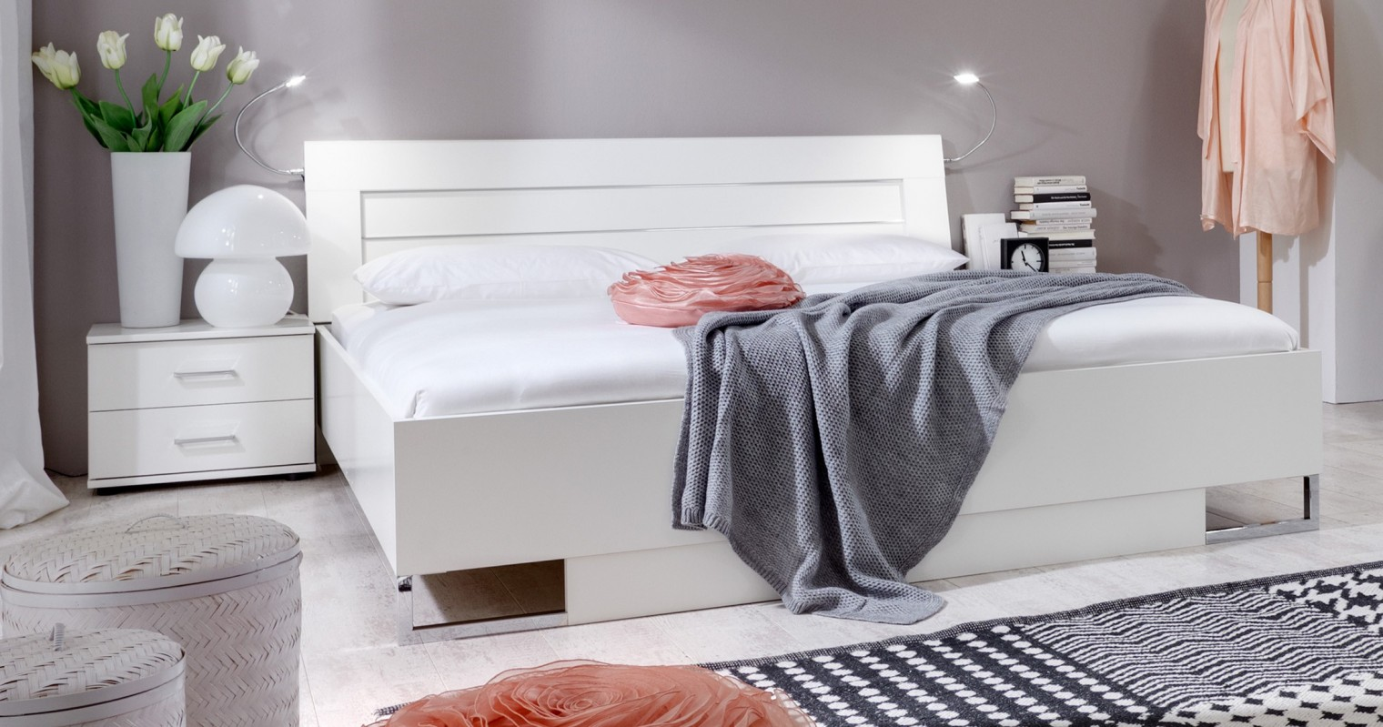 Ložnicový komplet Davos - Komplet 5, postel 140 cm (alpská bílá)