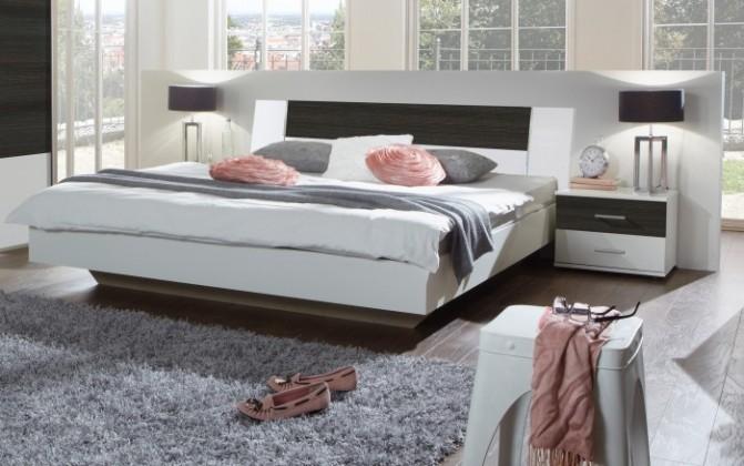 Ložnicový komplet Dora - komplet, postel 160cm (alpská bílá, wenge)