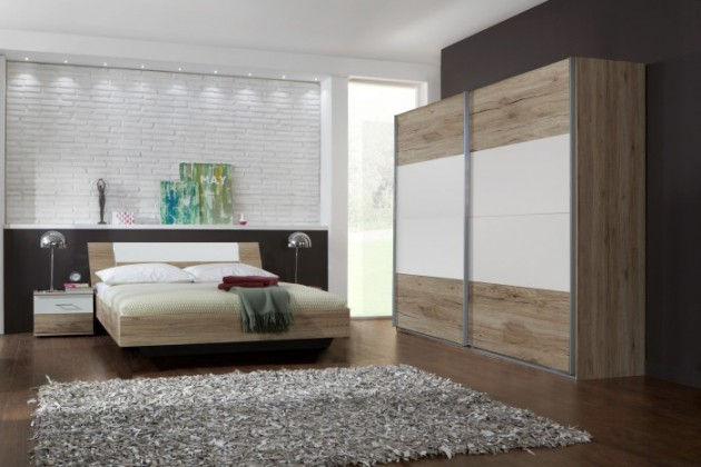 Ložnicový komplet Dora - komplet, postel 160cm (dub, alpská bílá)