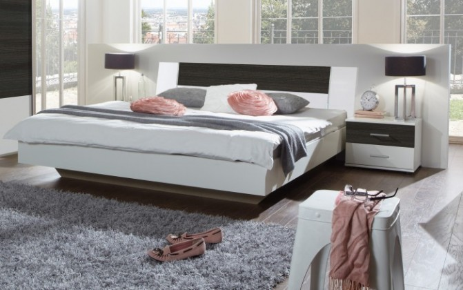 Ložnicový komplet Dora - komplet, postel 180cm (alpská bílá, wenge)