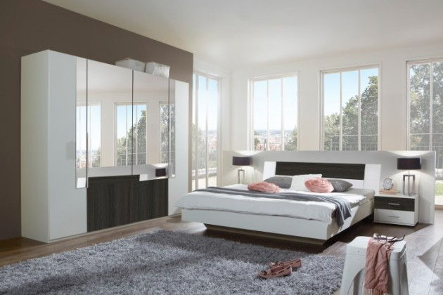 Ložnicový komplet Dora - komplet velký, postel 160cm (alpská bílá, zrcadlo, wenge)