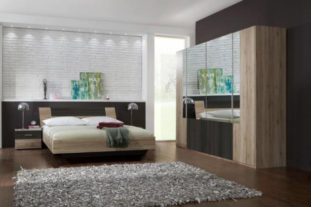 Ložnicový komplet Dora - komplet velký, postel 160cm (dub, zrcadlo, wenge)