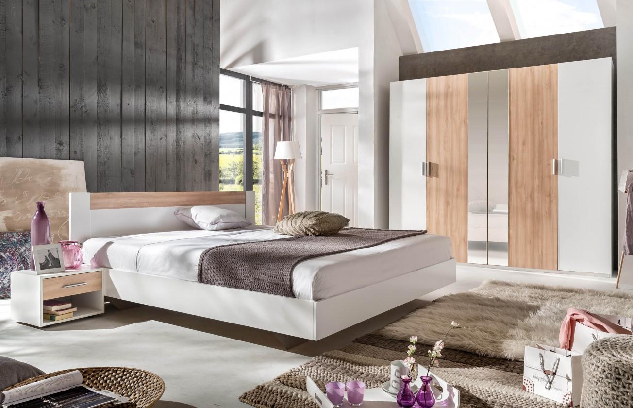 Ložnicový komplet Ilona - Komplet 2, postel 160 cm (alpská bílá, buk)