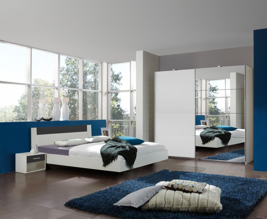 Ložnicový komplet Ilona - Komplet 4, postel 140 cm (alpská bílá, antracit)