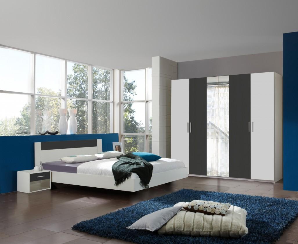 Ložnicový komplet Ilona - Komplet 8, postel 180 cm (alpská bílá, antracit)