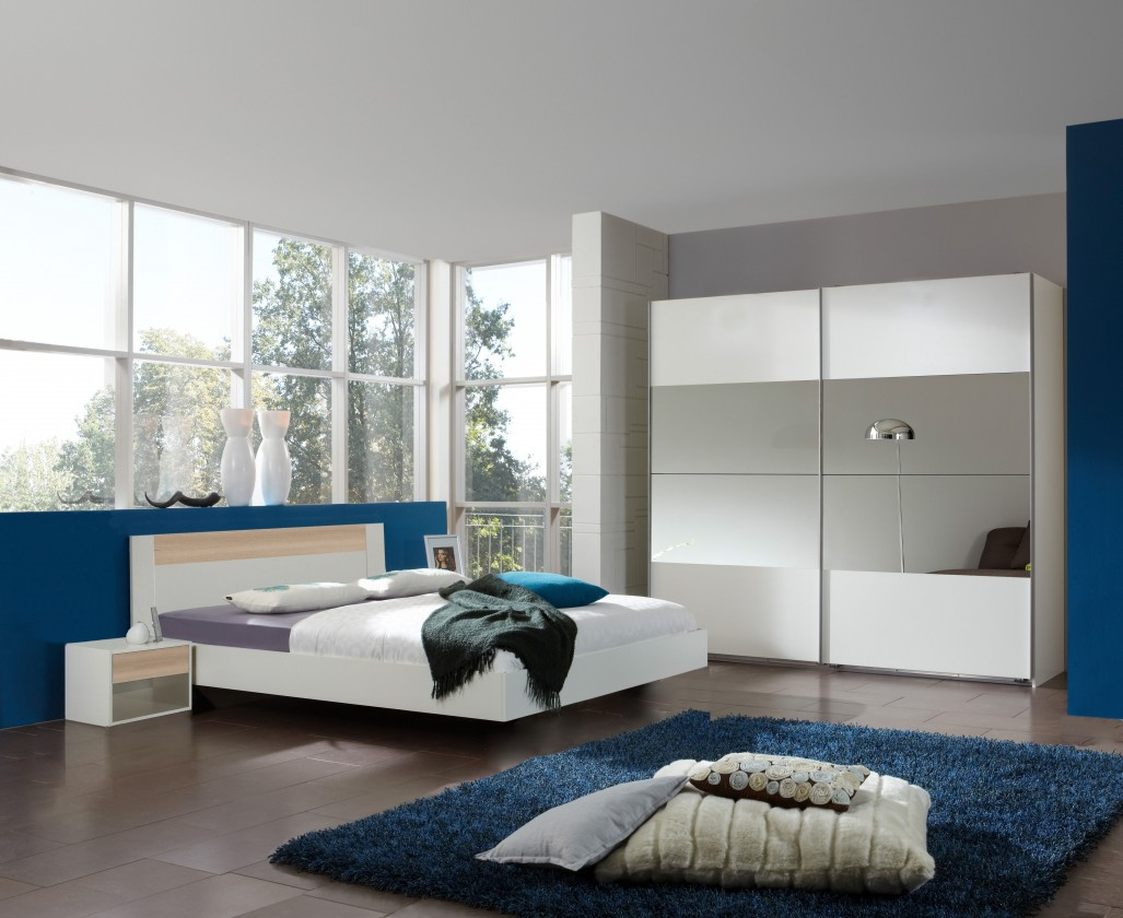 Ložnicový komplet Ilona - Komplet 9, postel 180 cm (alpská bílá, buk)
