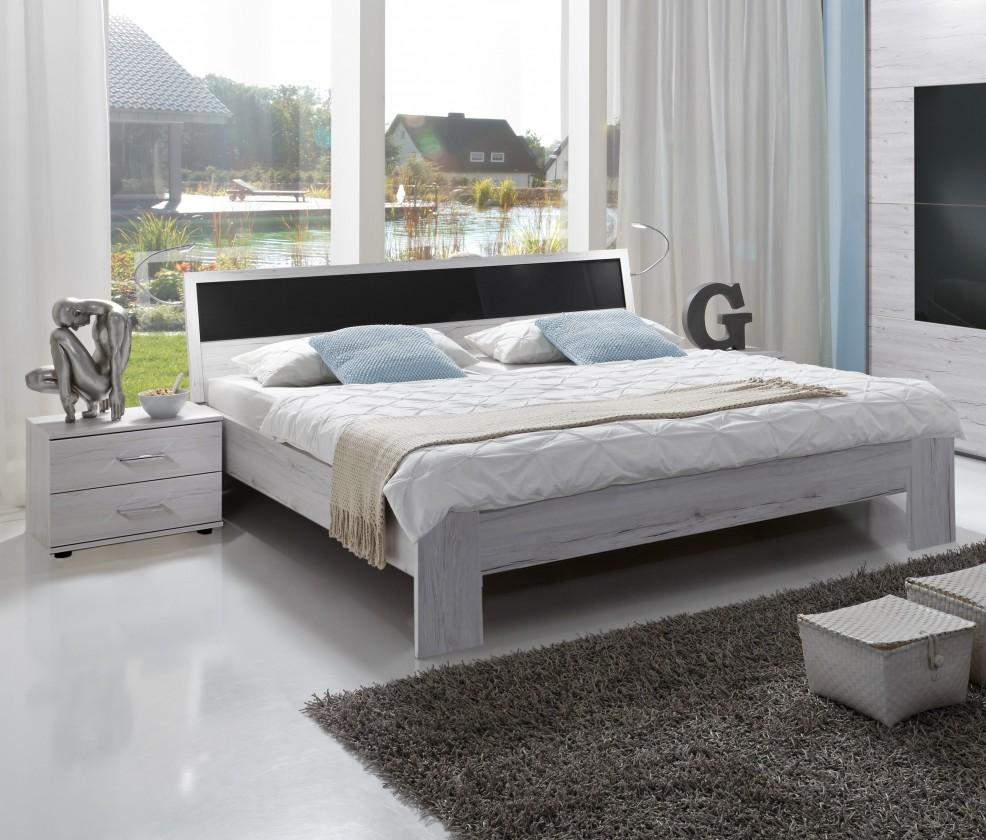 Ložnicový komplet Istrien - komplet, postel 180cm (bílý dub, šedé sklo)