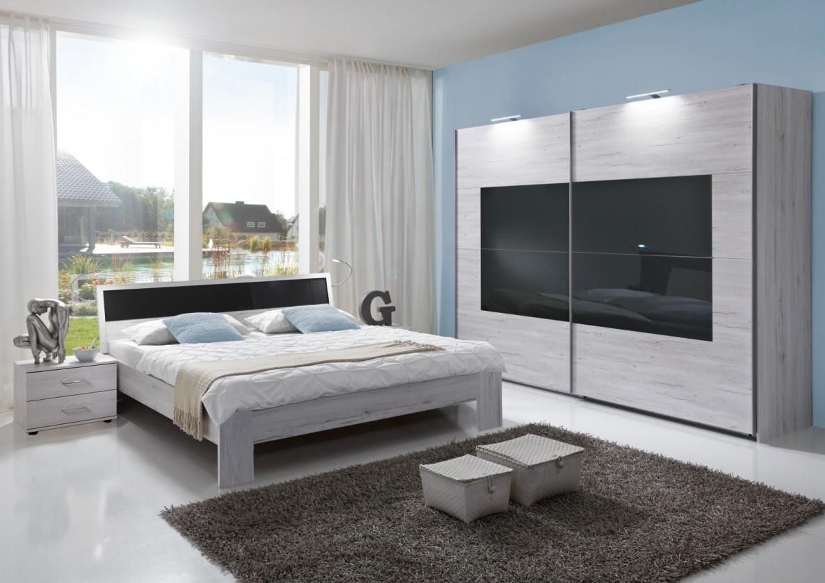 Ložnicový komplet Istrien - komplet velký, postel 180cm (bílý dub, šedé sklo)