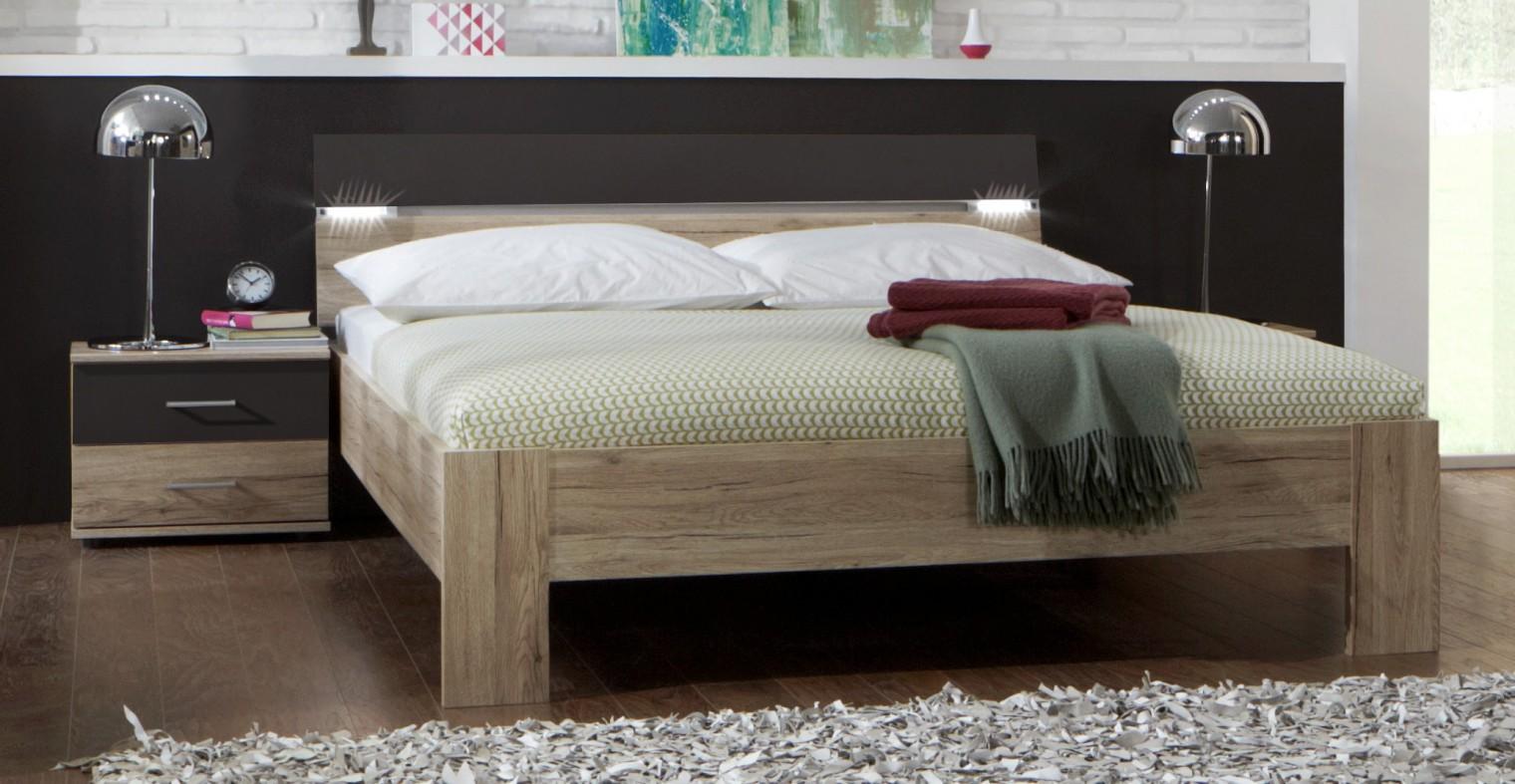 Ložnicový komplet Madrid - Komplet, postel 180 cm (dub san remo/lava černá)