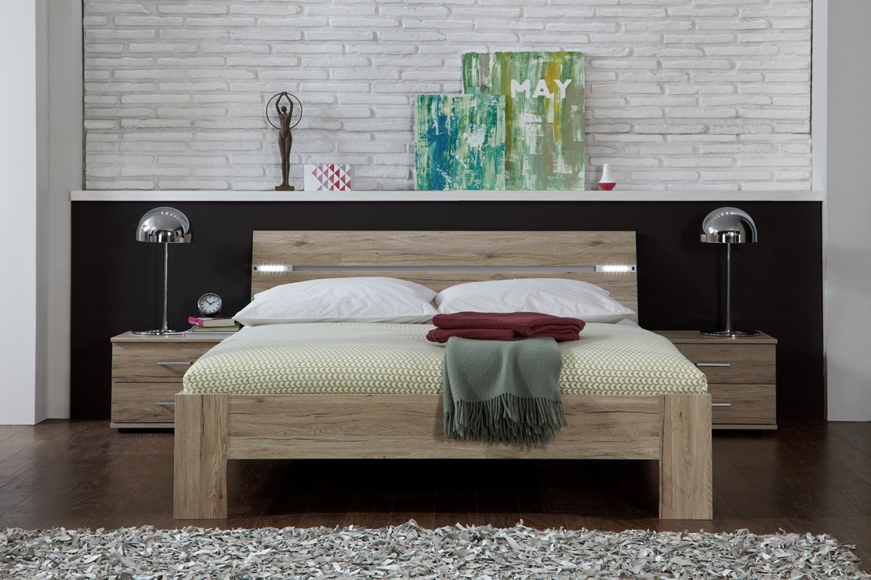 Ložnicový komplet Madrid - Komplet, postel 180 cm (dub san remo)