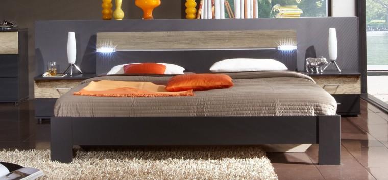 Ložnicový komplet Madrid - Komplet, postel 180 cm (lava černá/divoký dub)