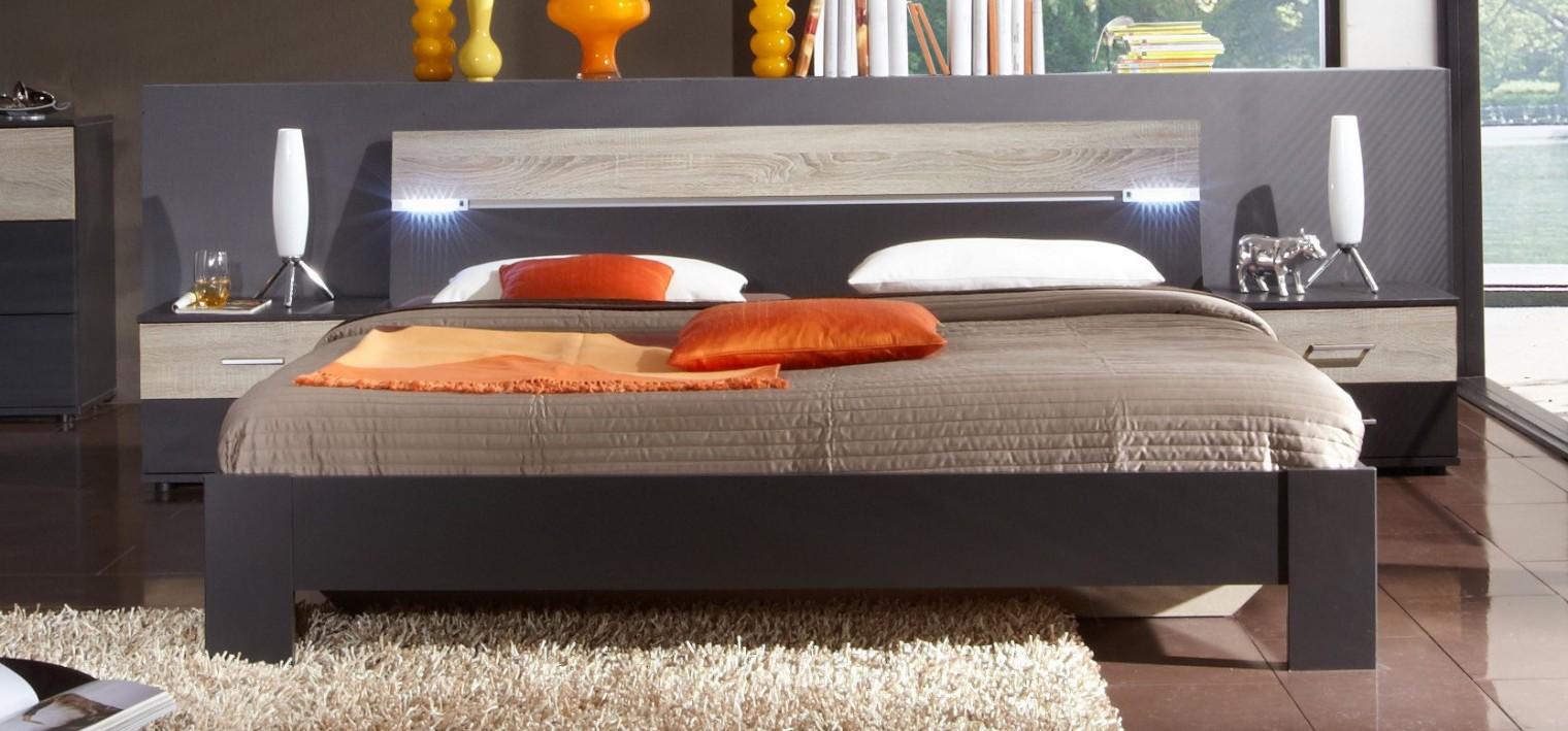 Ložnicový komplet Madrid - Komplet, postel 180 cm (lava černá/dub)