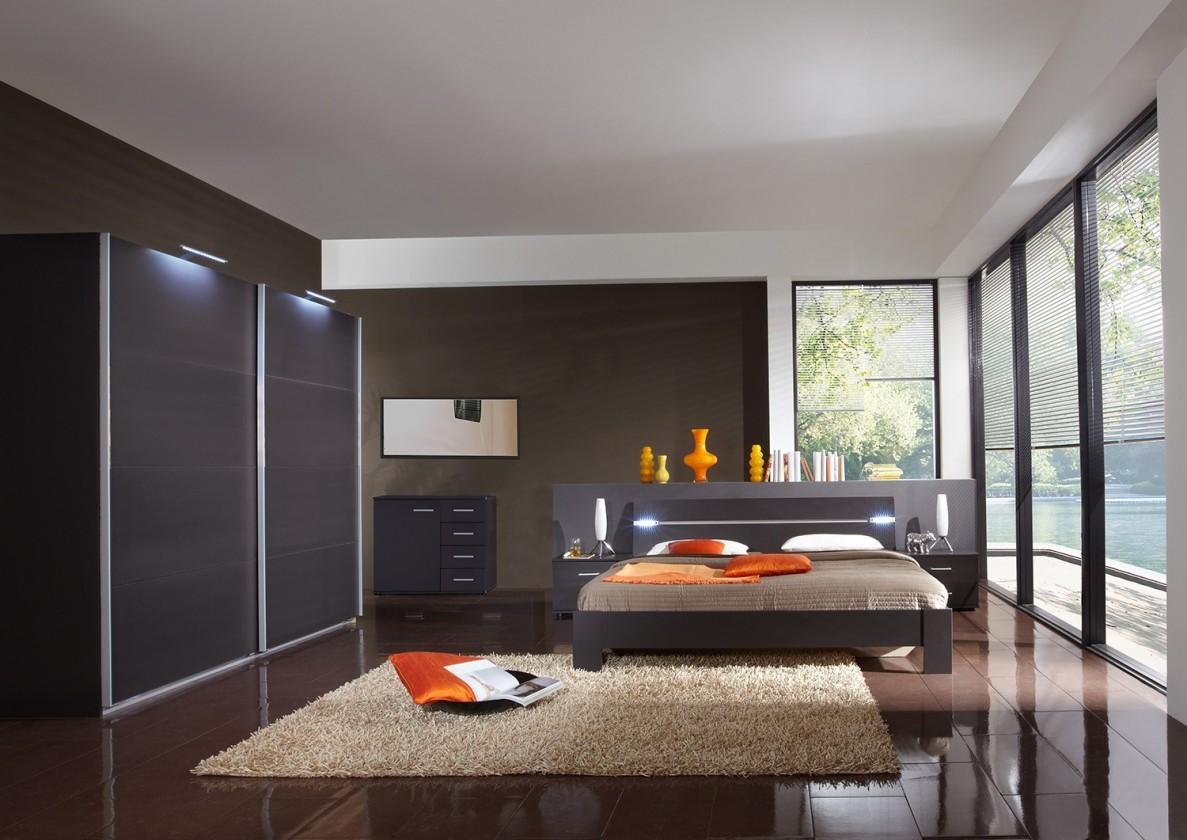 Ložnicový komplet Madrid - Komplet velký 2, postel 180 cm (lava černá)