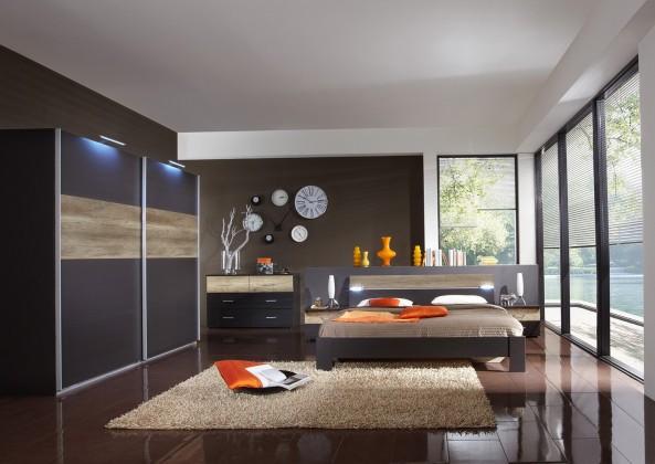 Ložnicový komplet Madrid - Komplet velký, postel 160 cm (lava černá/divoký dub)