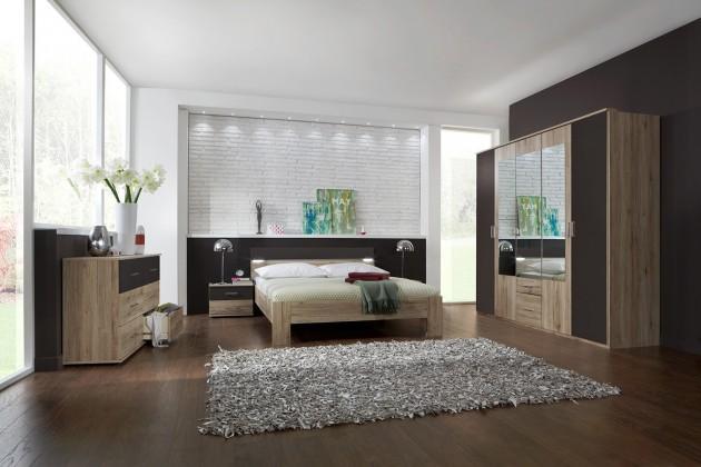 Ložnicový komplet Madrid - Komplet velký, postel 180 cm (dub san remo/lava černá)