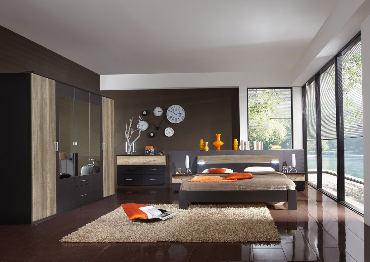 Ložnicový komplet Madrid - Komplet velký, postel 180 cm (lava černá/divoký dub)