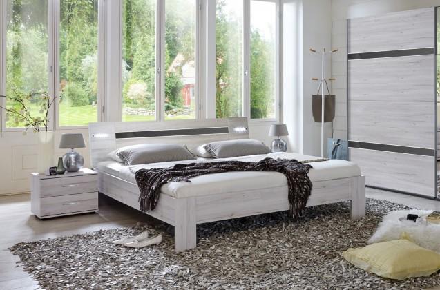Ložnicový komplet Nizza - komplet, postel 180cm (dub bílý,šedá vysoký lesk)