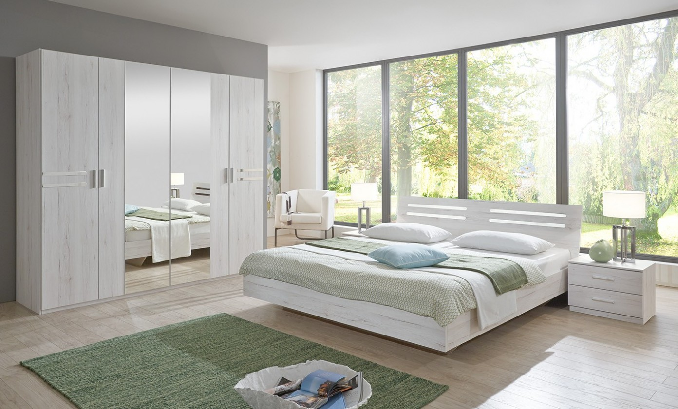 Ložnicový komplet Susan - komplet, postel 180cm (bílý dub, chromové prvky)