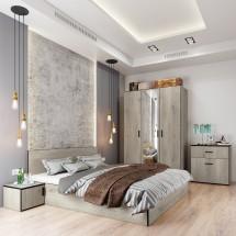 Ložnicový komplet Vernal-rám postele,skříň,komoda,2 noční stolky