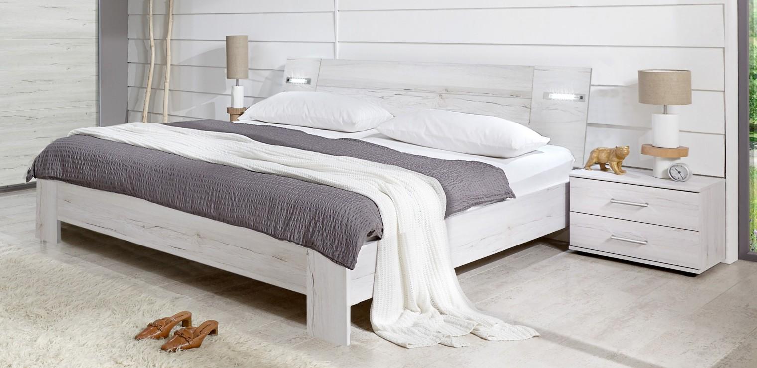 Ložnicový komplet Vicenza - Komplet, postel 140 cm (dub bílý)