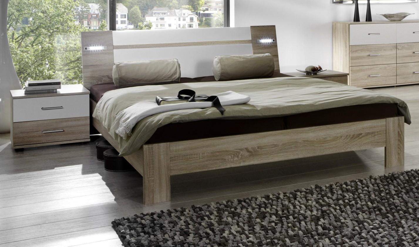 Ložnicový komplet Vicenza - Komplet, postel 160 cm (dub/alpská bílá)