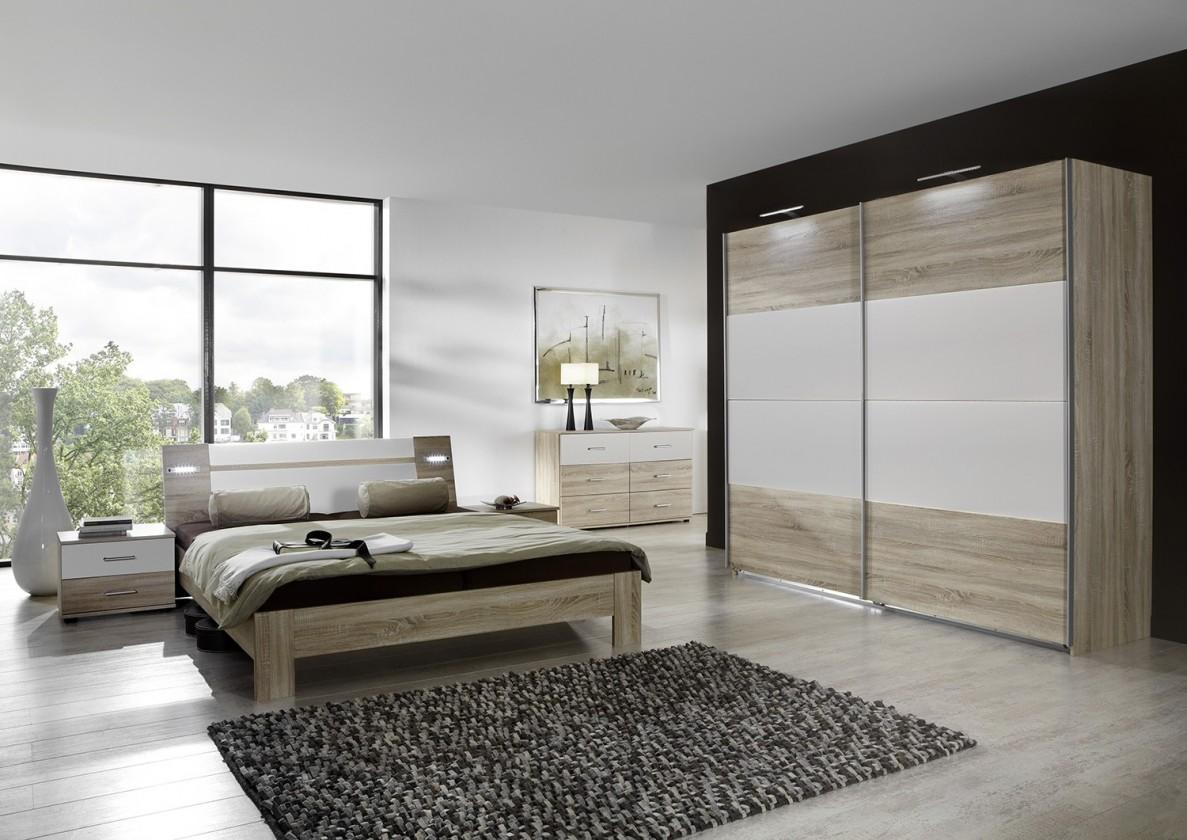 Ložnicový komplet Vicenza - Komplet velký 2, postel 180 cm (dub/alpská bílá)
