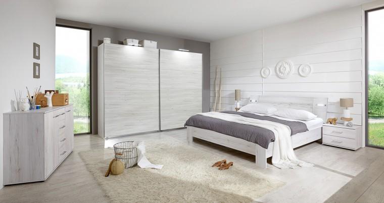 Ložnicový komplet Vicenza - Komplet velký, postel 160 cm (dub bílý)