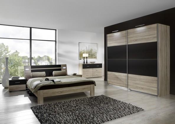 Ložnicový komplet Vicenza - Komplet velký, postel 160 cm (dub/lava černá)