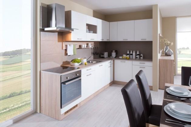 Luce - Kuchyně, 300x180 cm, bílá (bílá, dub bardolino, písek)
