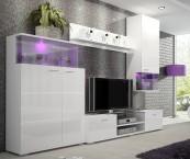 Luis - Obývací stěna, police, RTV komoda, světlo (bílá)