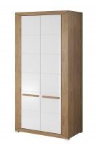 Lumi - Obýváková skříň, 2 dveře (dub beaufort, bílý lesk)