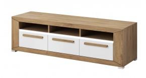 Lumi - TV stolek, 3 zásuvky (dub beaufort, bílý lesk)