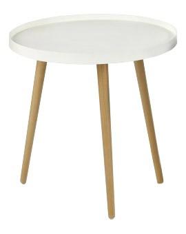 Malaga - Konferenční stolek kruhový, dřevěné nohy (bílá, dřevo)