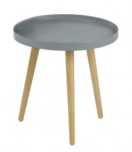 Malaga - Konferenční stolek kruhový, dřevěné nohy (šedá, dřevo)