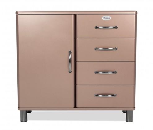 Malibu - Komoda (bronzová, 1x dveře, 4x zásuvka)