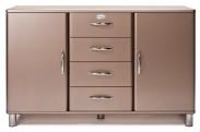 Malibu - Komoda (bronzová, 2x dveře, 4x zásuvka)