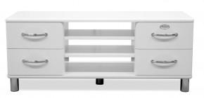 Malibu - TV stolek (bílá, 4x zásuvka, 2x police)