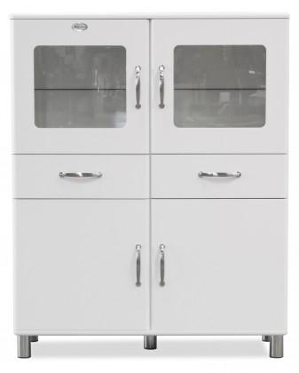 Malibu - Vitrína (bílá, 2x dveře, 2x skleněné dveře, 2x zásuvka)