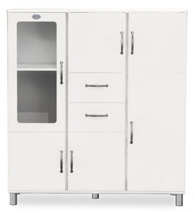 Malibu - Vitrína (bílá, 5x dveře, 1x skleněné dveře, 2x zásuvka)