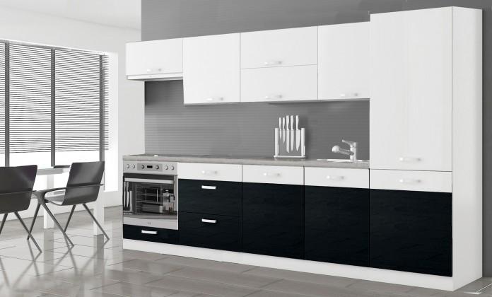 Manhattan - Kuchyňský blok 300 cm (bílá/černá lesk)