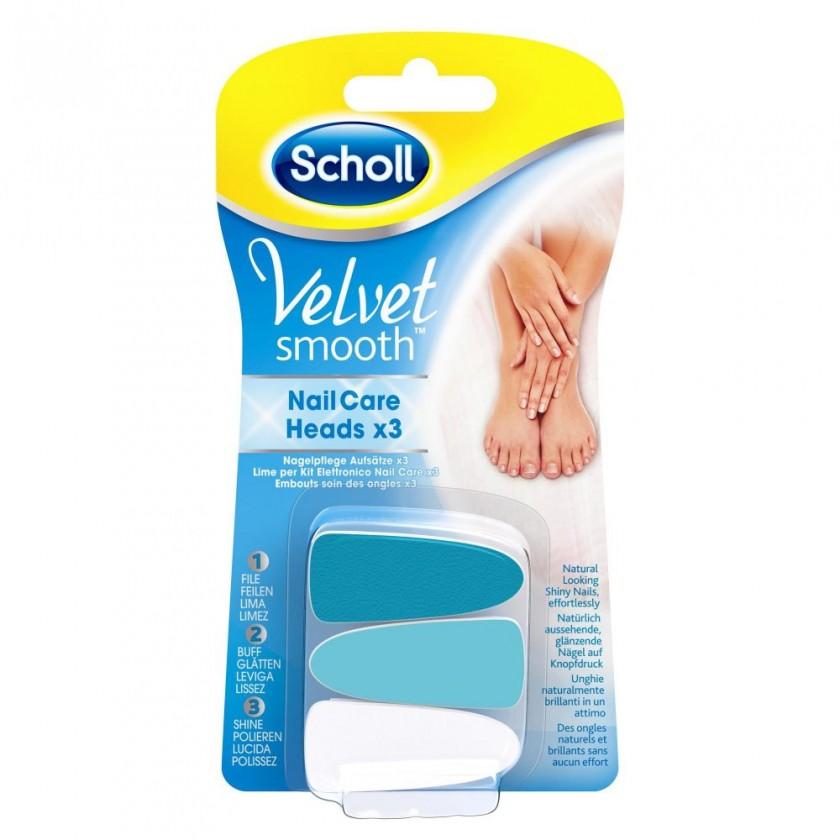 Manikůry / pedikůry SCHOLL VelvetSmooth Náhr.hlavice do el.pilníku na nehty,modré