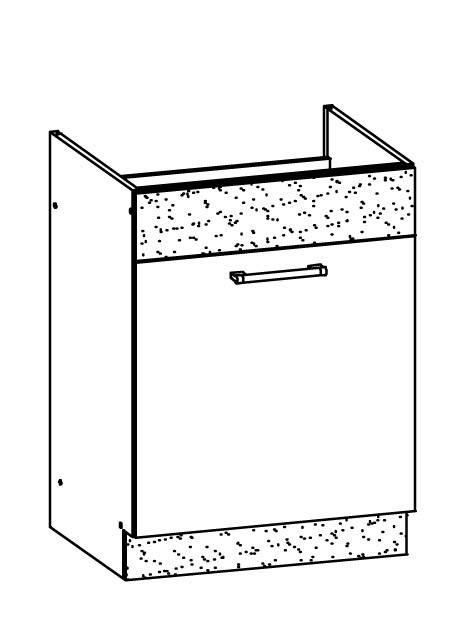 Marina - Spodní skříňka dřezová 60 (jasmín lesk/eben lesk)