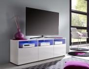 Mediathek - TV stolek 318 (bílá mat/bílá vysoký lesk)